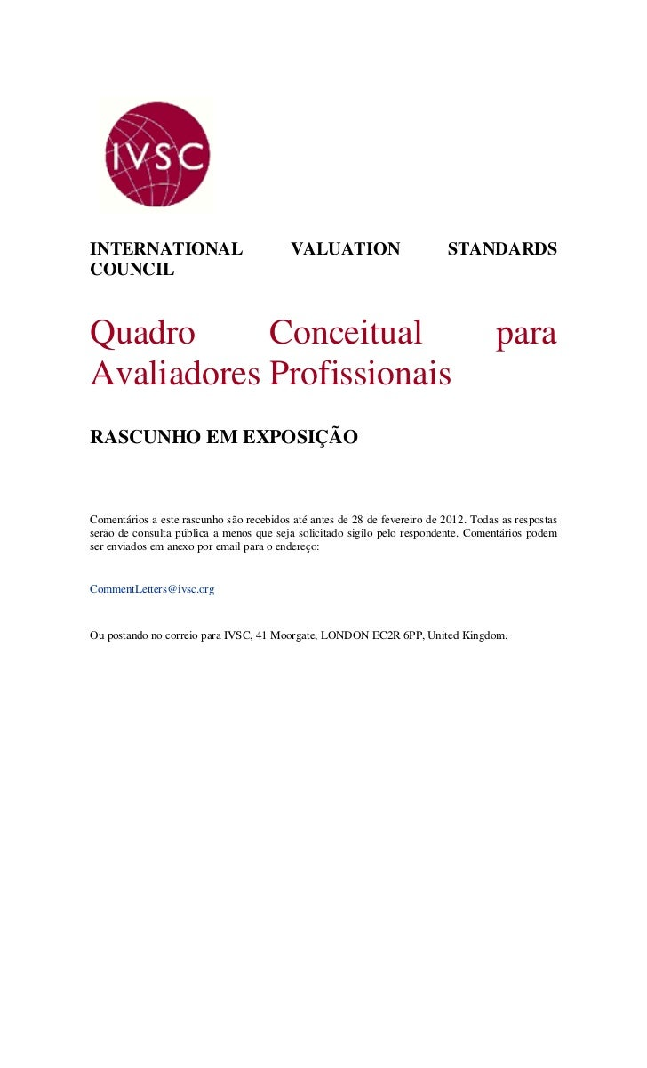 Quadro Conceitual para Competências do Avaliador Profissional