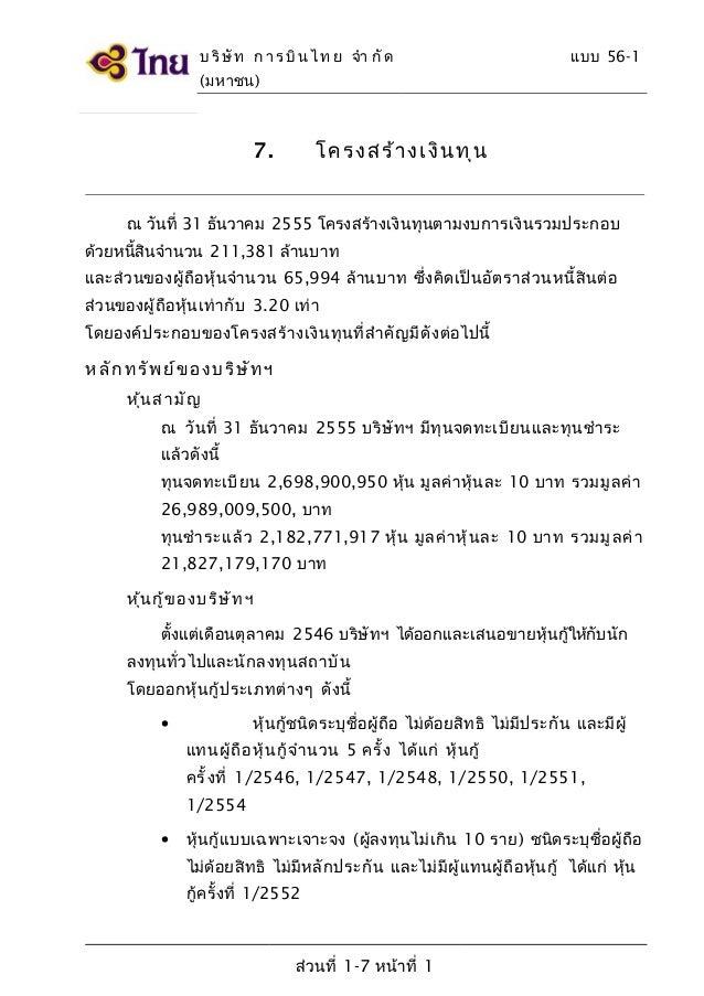 บ ริ ษั ท ก า ร บิ น ไ ท ย จำา กั ด  แบบ 56-1  (มหาชน)  โครง สร้ า ง เงิน ทุ น  7.  ณ วันที่ 31 ธันวาคม 2555 โครงสร้างเงิน...