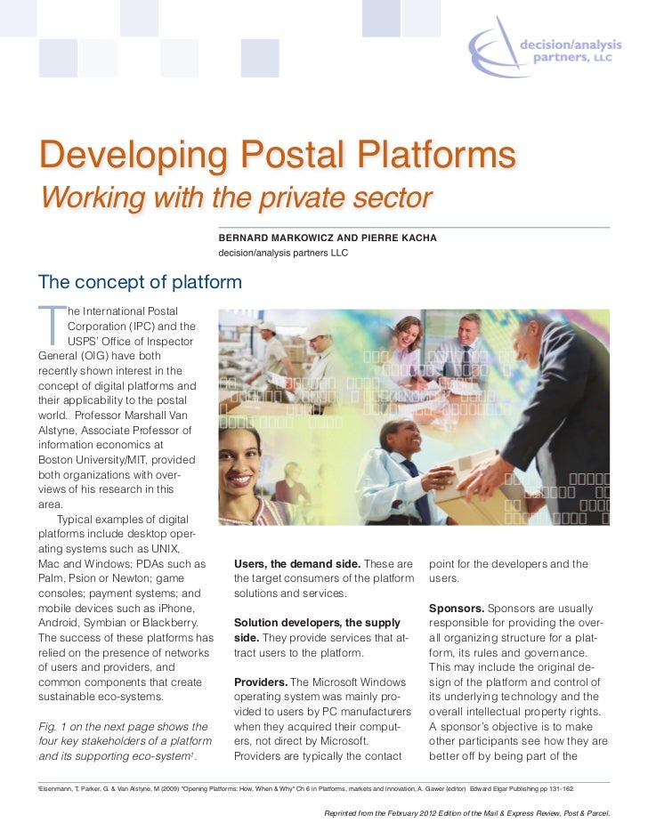 Developing Postal PlatformsWorking with the private sector                                                                ...