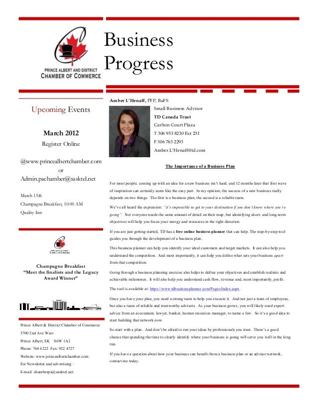 Business Progress Upcoming Events March 2012 Register Online @www.princealbertchamber.com or Admin.pachamber@sasktel.net M...