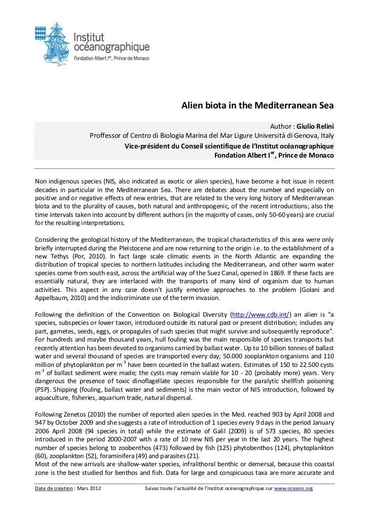 Alien biota in the mediterranean sea
