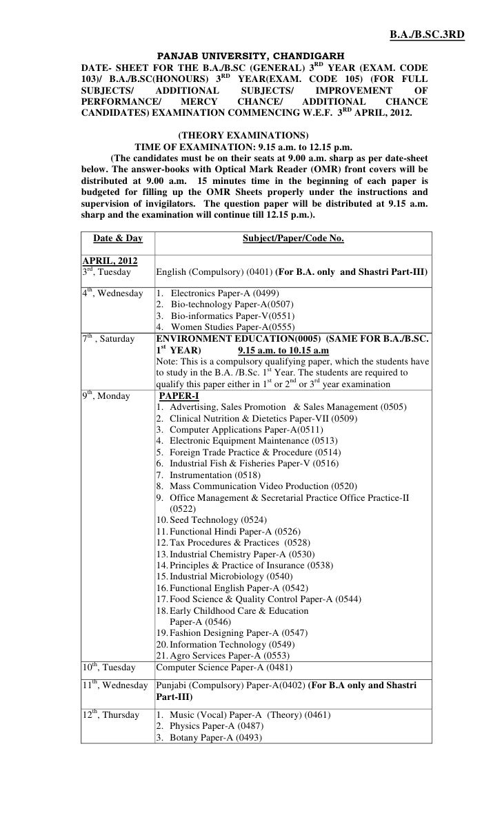 B.A./B.SC.3RD                PANJAB UNIVERSITY, CHANDIGARHDATE- SHEET FOR THE B.A./B.SC (GENERAL) 3RD YEAR (EXAM. CODE103)...
