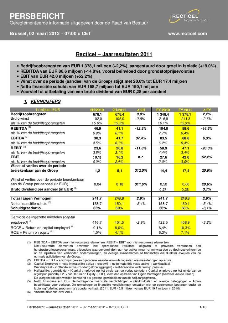 PERSBERICHTGereglementeerde informatie uitgegeven door de Raad van BestuurBrussel, 02 maart 2012 – 07:00 u CET            ...