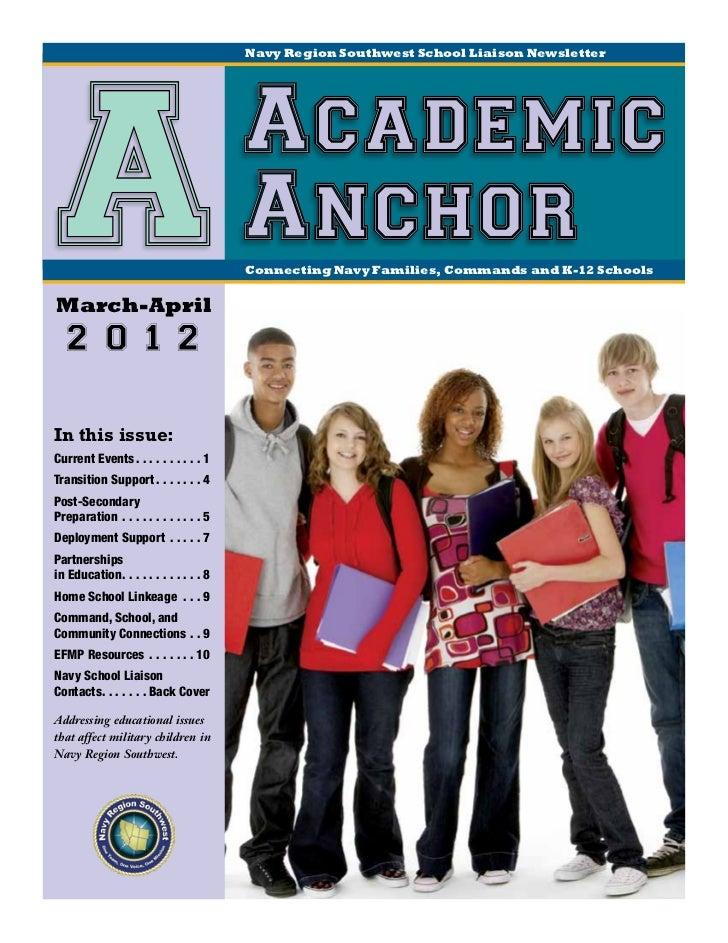 Navy Region Southwest School Liaison Newsletter AMarch-April                                                  Academic    ...
