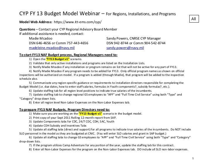CYP FY 13 Budget Model Webinar – For Regions, Installations, and Programs                                                 ...