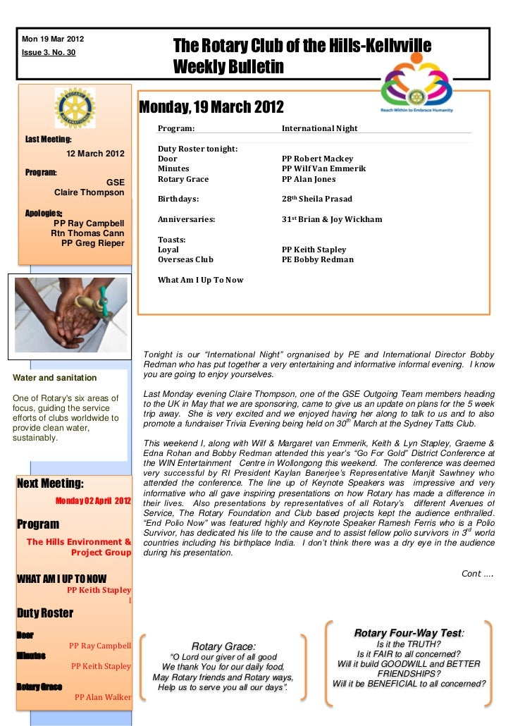 The Rotary Club of the Hills-Kellyville  Mon 19 Mar 2012  Issue 3. No. 30                                           Weekly...