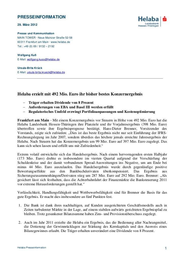 PRESSEINFORMATION29. März 2012Presse und KommunikationMAIN TOWER · Neue Mainzer Straße 52-5860311 Frankfurt am Main · www....