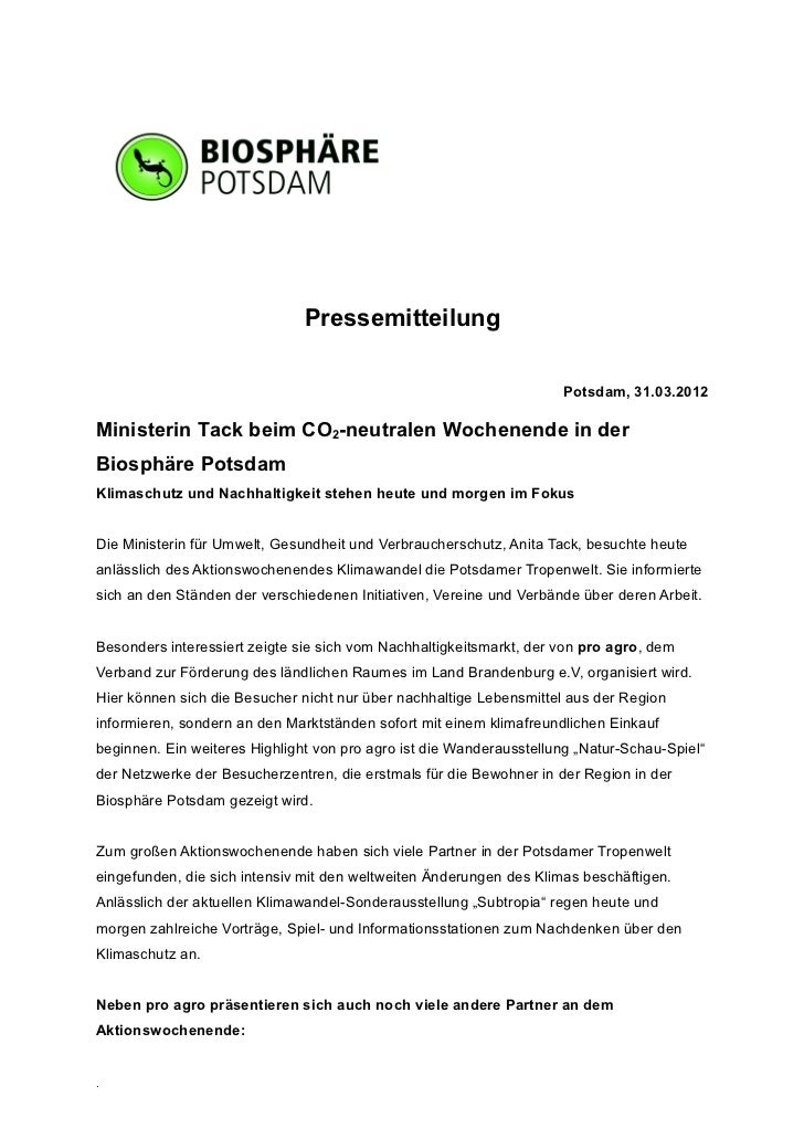 Pressemitteilung                                                                     Potsdam, 31.03.2012Ministerin Tack be...