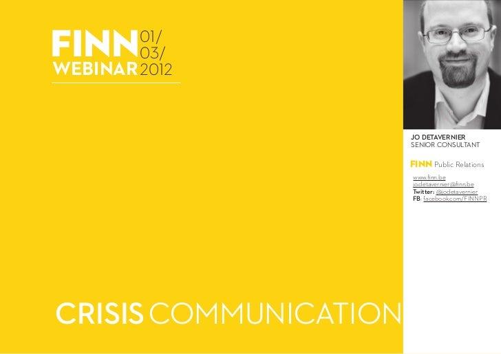 webinar: crisisc communicatie - 01 maart