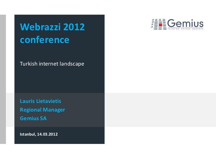Webrazzi 2012conferenceTurkish internet landscapeLauris LietavietisRegional ManagerGemius SAIstanbul, 14.03.2012