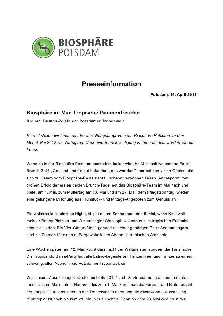 Presseinformation                                                                   Potsdam, 16. April 2012Biosphäre im Ma...
