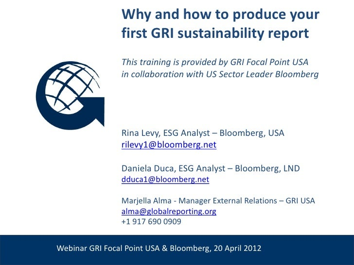 Why and how to produce your                       first GRI sustainability report                       This training is p...