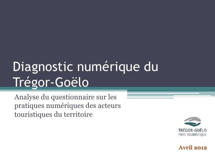 Diagnostic numérique duTrégor-GoëloAnalyse du questionnaire sur lespratiques numériques des acteurstouristiques du territo...