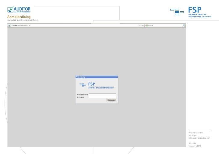 FSPAnmeldedialogwww.das-auditmanagement.com                              Produktübersicht:                              AU...