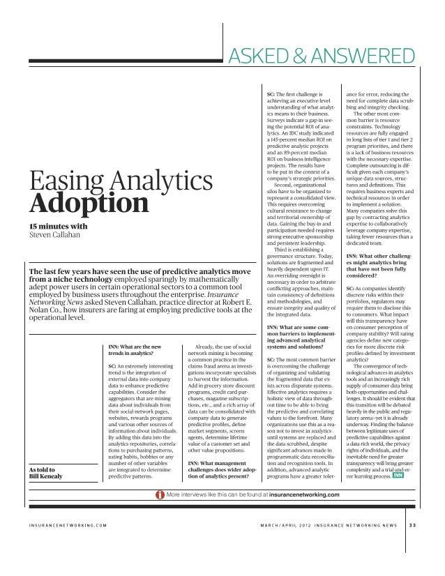 201204 Insurance News Network: Easing Analytics Adoption