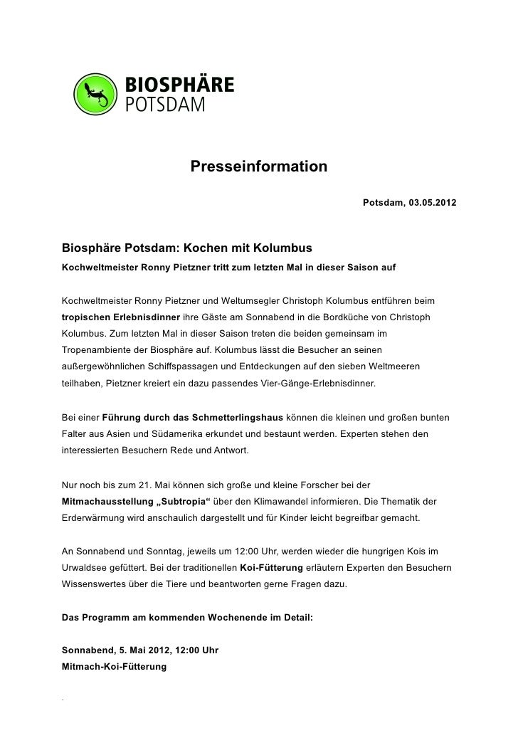 Presseinformation                                                                     Potsdam, 03.05.2012Biosphäre Potsdam...