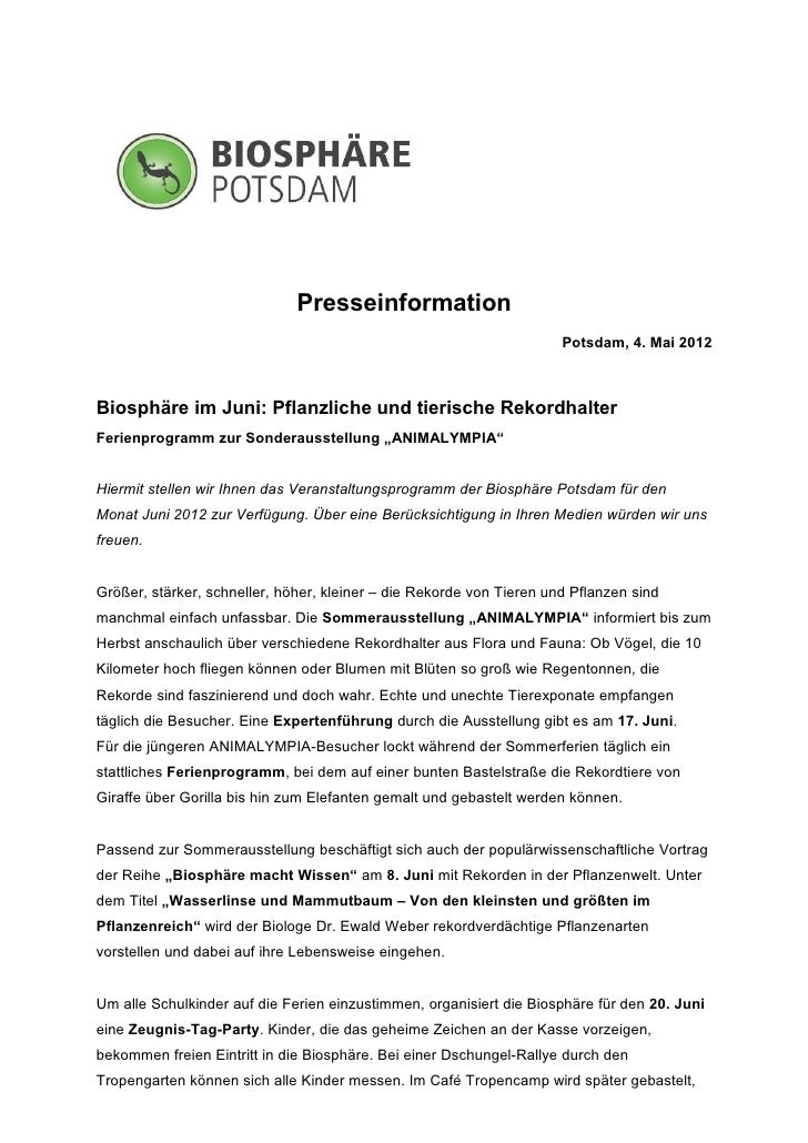 Presseinformation                                                                      Potsdam, 4. Mai 2012Biosphäre im Ju...