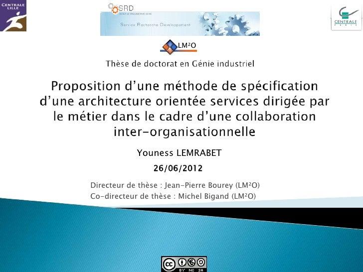LM²O            Youness LEMRABET                 26/06/2012Directeur de thèse : Jean-Pierre Bourey (LM²O)Co-directeur de t...