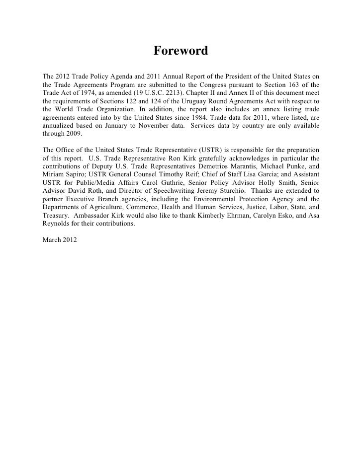 ForewordThe 2012 Trade Policy Agenda and 2011 Annual Report of the President of the United States onthe Trade Agreements P...