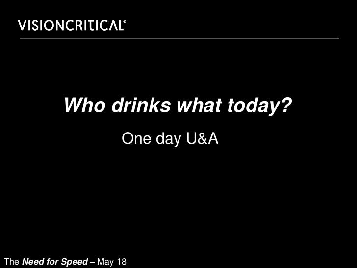 Who drinks what today?                         One day U&AThe Need for Speed – May 18