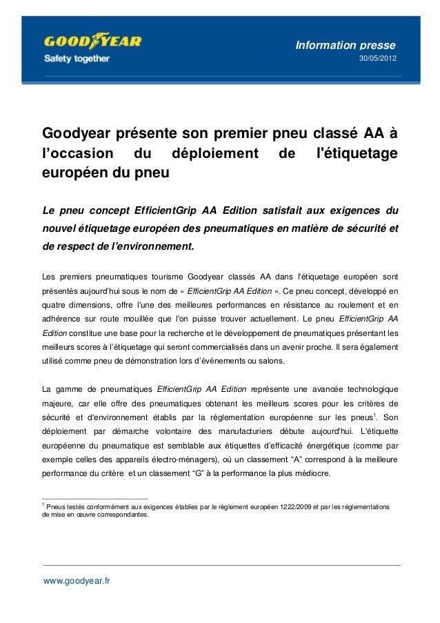 Goodyear lance une application de sécurité pour iPhone et AndroidInformation                          presse              ...