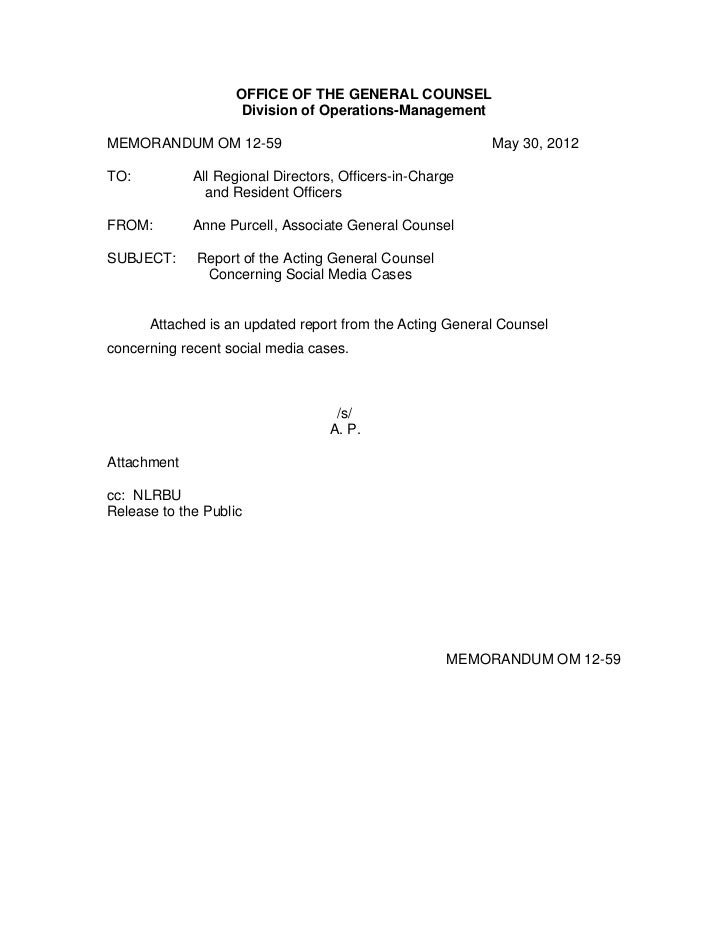 OFFICE OF THE GENERAL COUNSEL                     Division of Operations-ManagementMEMORANDUM OM 12-59                    ...