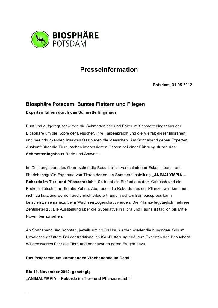 Presseinformation                                                                        Potsdam, 31.05.2012Biosphäre Pots...