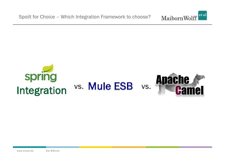 Spoilt for Choice – Which Integration Framework to choose?Integration                vs.   Mule ESB             vs.www.mwe...