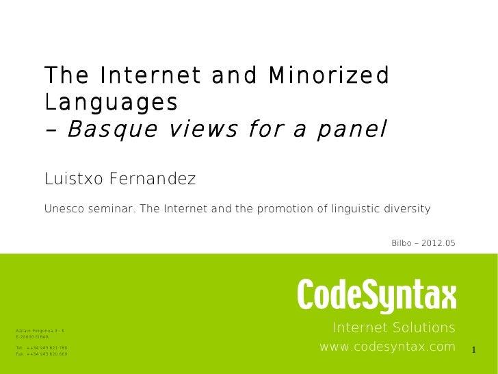 Unesco seminar: Language diversity and the Internet