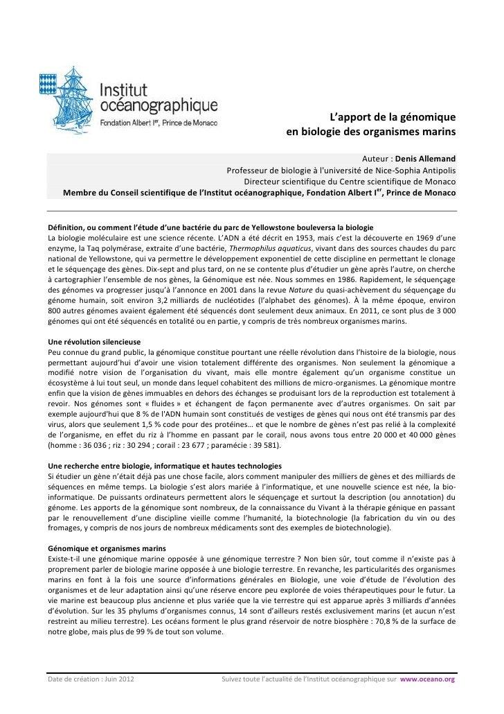 Apport de la genomique - Denis Allemand
