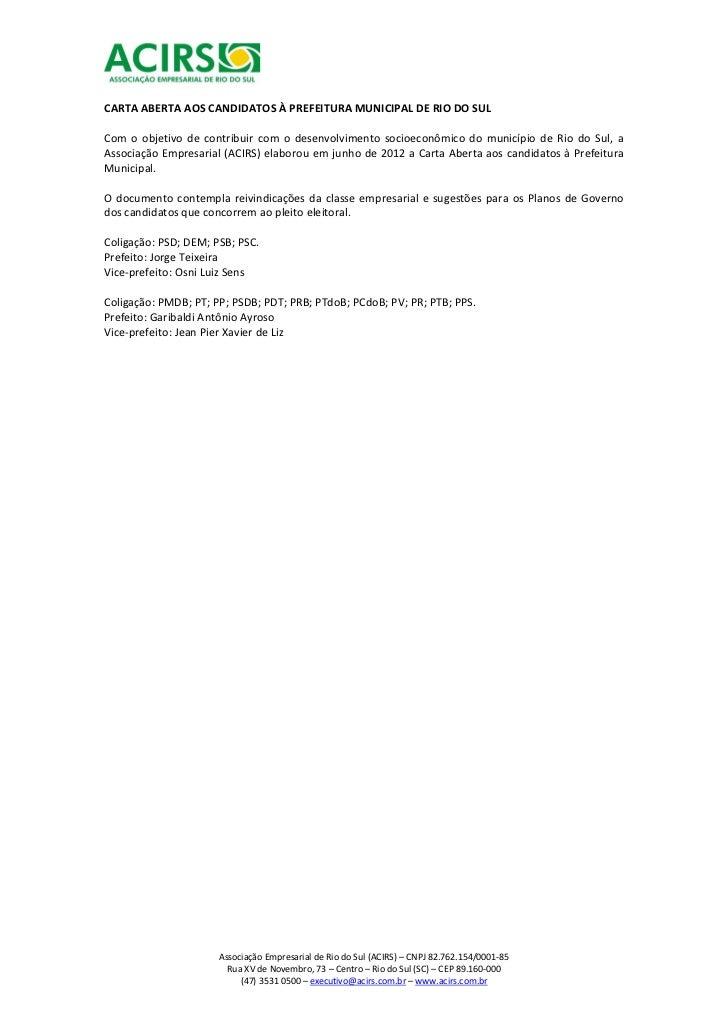 Documento encaminhado pela ACIRS aos candidatos à Prefeito