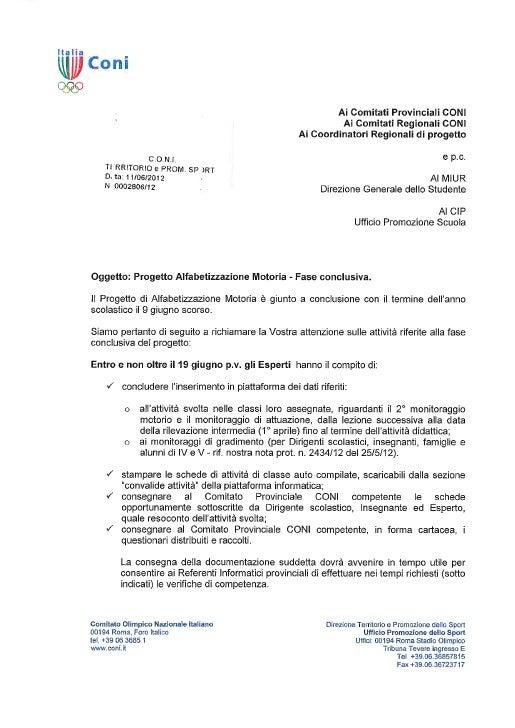 Progetto Alfabetizzazione Motoria Fase conclusiva 2012