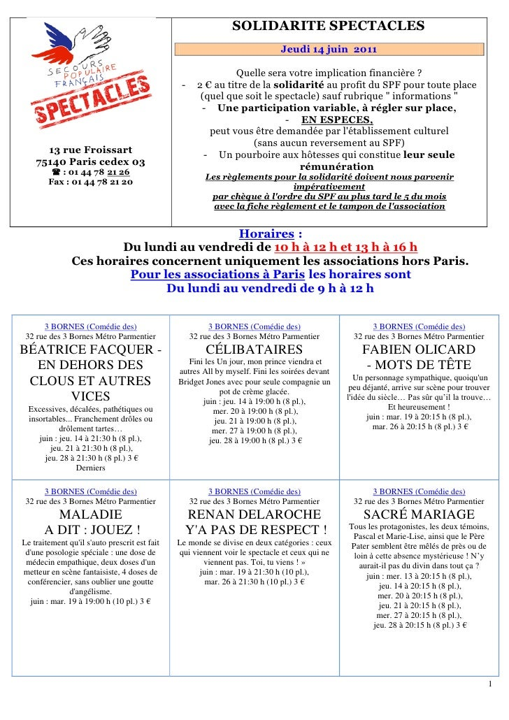 151B   SOLIDARITE SPECTACLES                                                                                 Jeudi 14 juin...