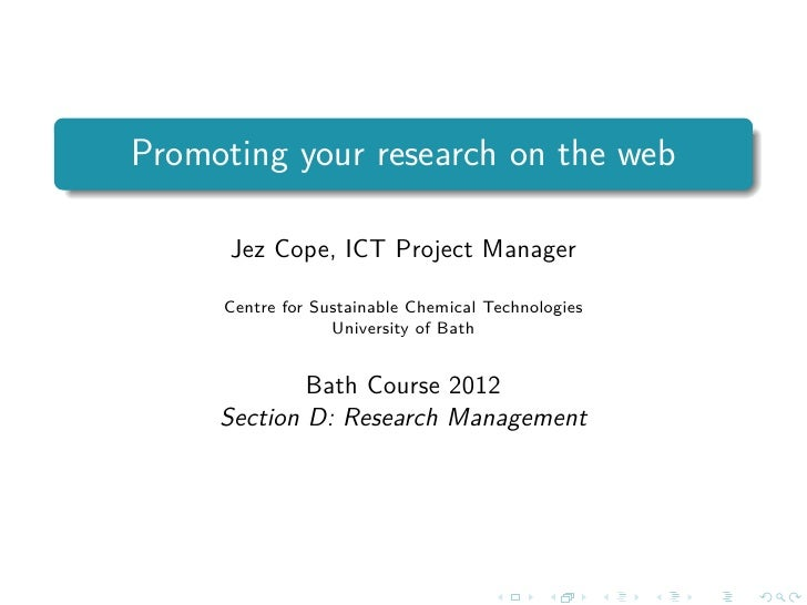 Promoting your research on the web