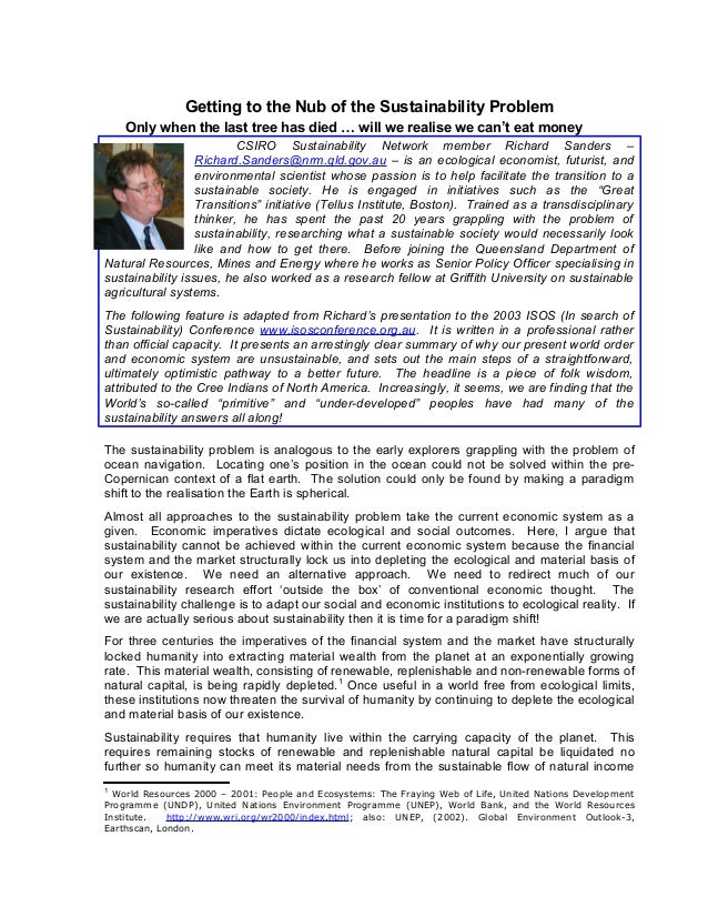Problems with QE aka Printing Money - sanders richard - csiro paper - nub of sustainability