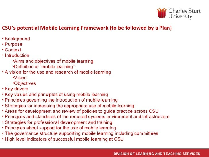 Mobile Learning Mobile Learning Framework