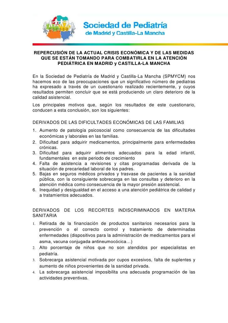 REPERCUSIÓN DE LA ACTUAL CRISIS ECONÓMICA Y DE LAS MEDIDAS  QUE SE ESTÁN TOMANDO PARA COMBATIRLA EN LA ATENCIÓN        PED...