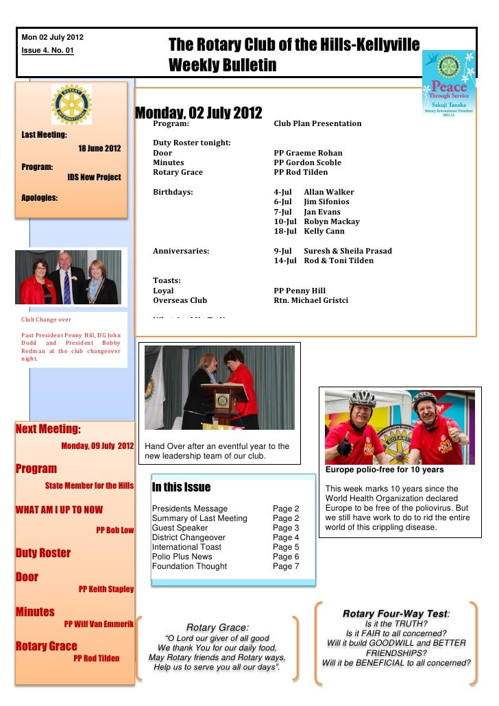 The Rotary Club of the Hills-Kellyville Mon 02 July 2012 Issue 4. No. 01                                               Wee...