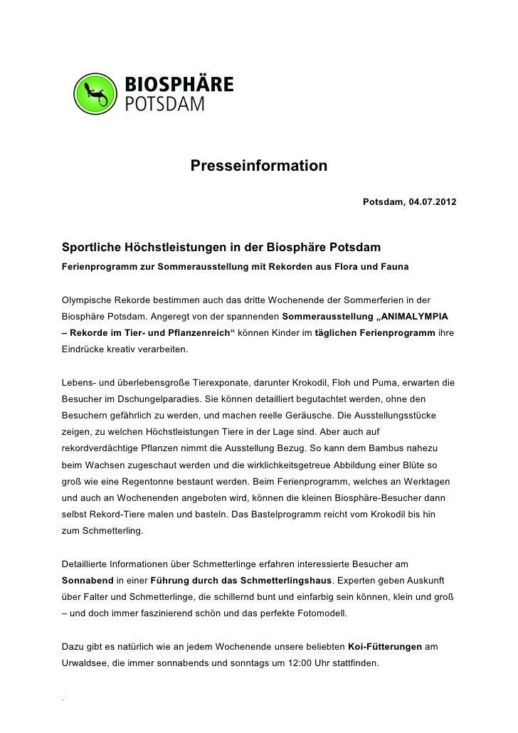 Presseinformation                                                                       Potsdam, 04.07.2012Sportliche Höch...