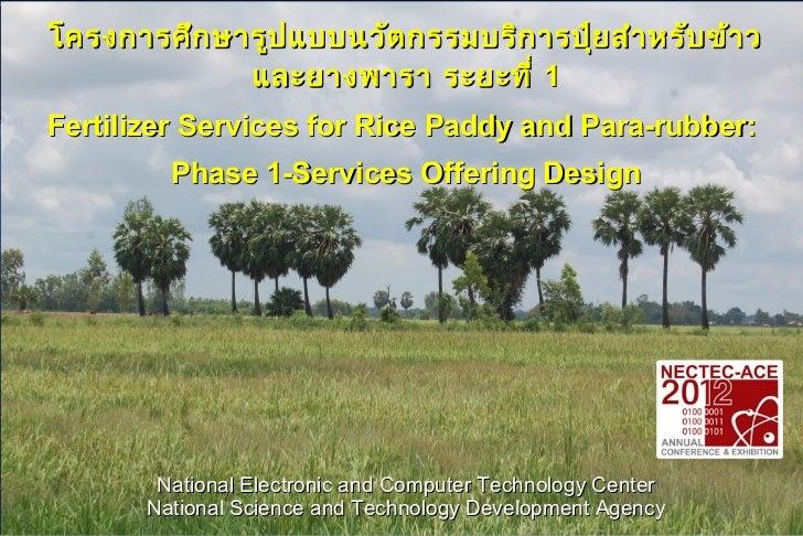 โครงการศึก ษารูป แบบนวัต กรรมบริก ารปุ๋ย สำา หรับ ข้า ว             และยางพารา ระยะที่ 1Fertilizer Services for Rice Paddy...