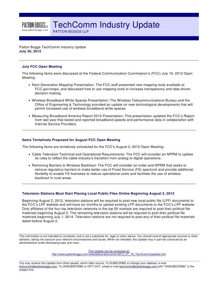TechComm Industry Update                           PATTON BOGGS LLPPatton Boggs TechComm Industry UpdateJuly 20, 2012  Jul...