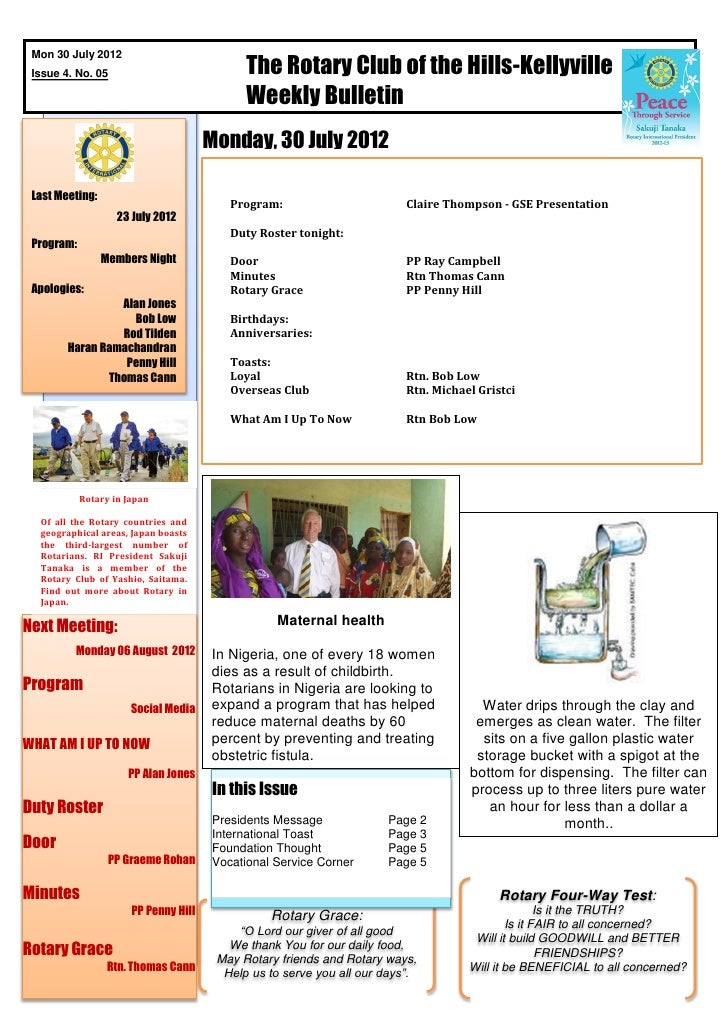 The Rotary Club of the Hills-Kellyville Mon 30 July 2012 Issue 4. No. 05                                              Week...