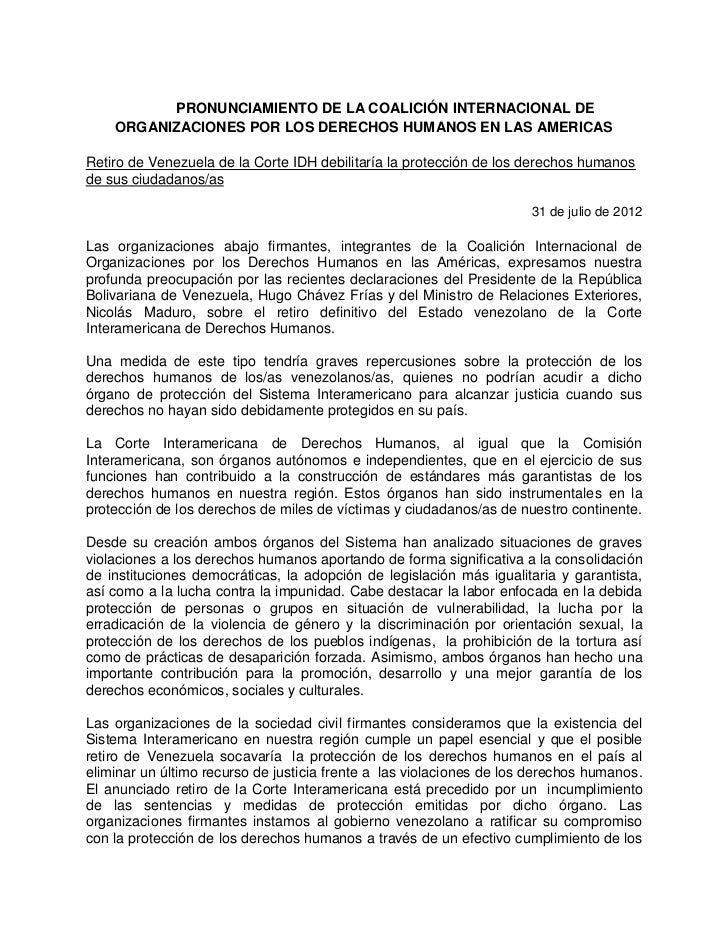 PRONUNCIAMIENTO DE LA COALICIÓN INTERNACIONAL DE    ORGANIZACIONES POR LOS DERECHOS HUMANOS EN LAS AMERICASRetiro de Venez...