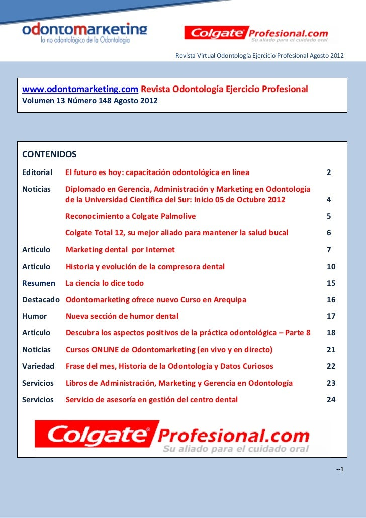 Revista Virtual Odontología Ejercicio Profesional Agosto 2012www.odontomarketing.com Revista Odontología Ejercicio Profesi...