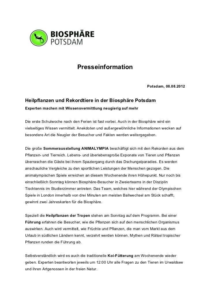 Presseinformation                                                                      Potsdam, 08.08.2012Heilpflanzen und...