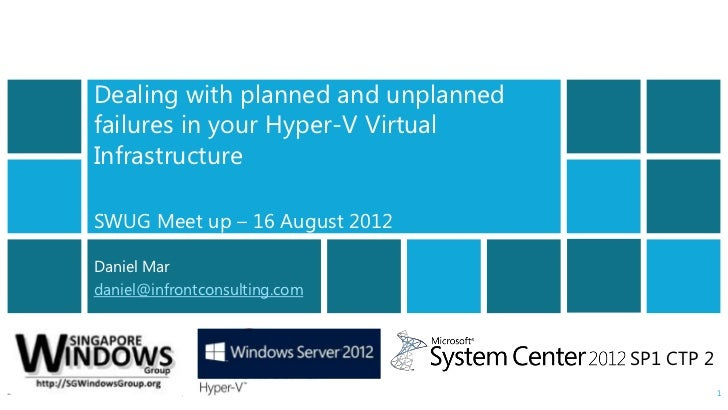 Windows Server 8 Beta - Pre Release Information OnlyDealing with planned and unplannedfailures in your Hyper-V VirtualInfr...