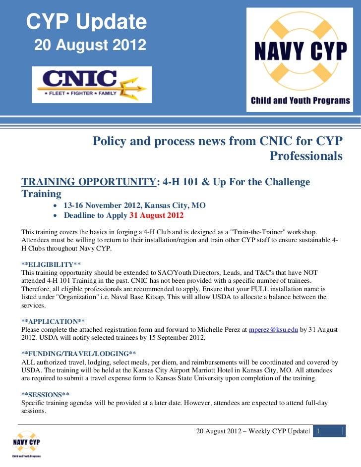 CYP Update    20 August 2012                         Policy and process news from CNIC for CYP                            ...