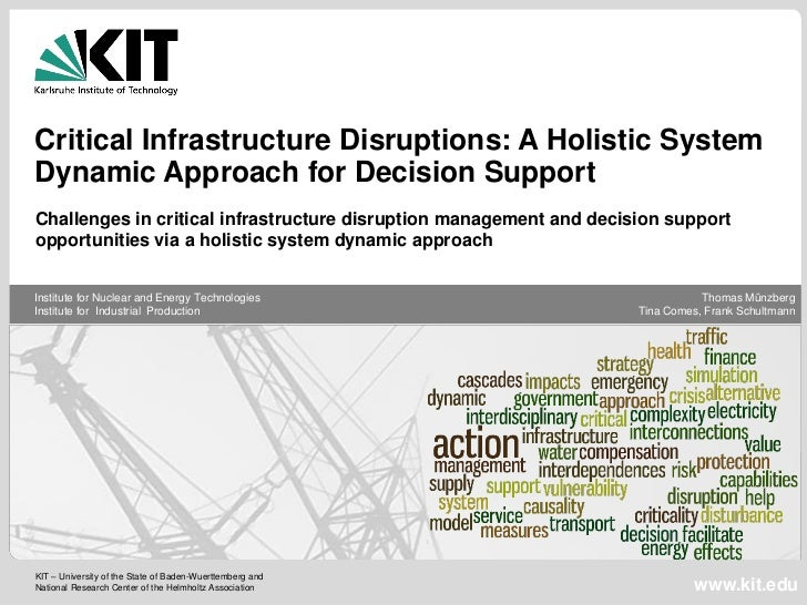 Critical Infrastructure Disruptions: A Holistic SystemDynamic Approach for Decision SupportChallenges in critical infrastr...