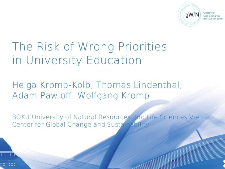 The risk of the wrong priorities in university education