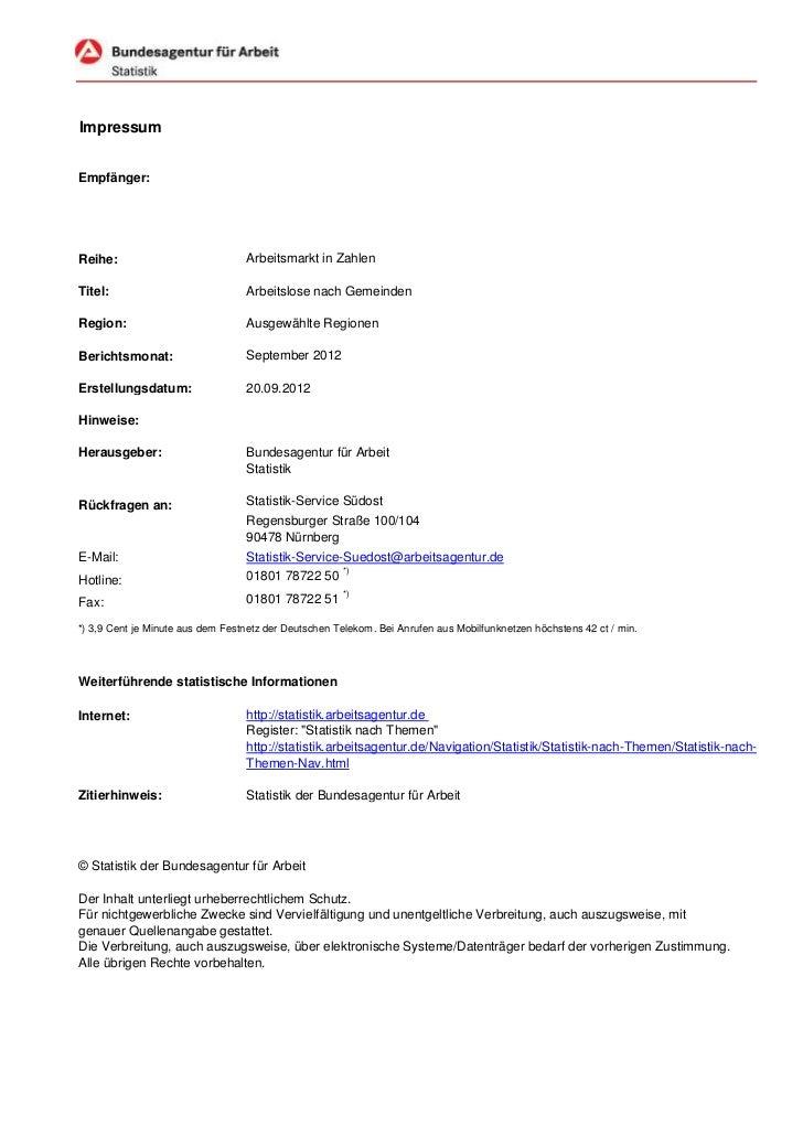 ImpressumEmpfänger:Reihe:                            Arbeitsmarkt in ZahlenTitel:                            Arbeitslose n...